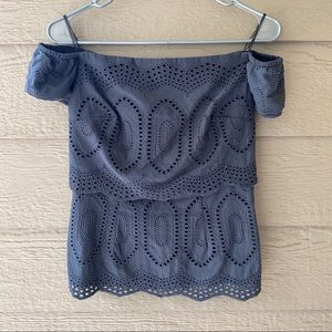 Bailey 44 Racketer Off the Shoulder Eyelet Top
